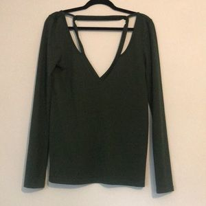 Tobi forrest green sweater with cut outs